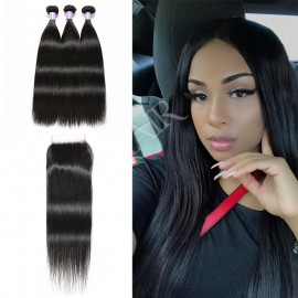 Straight hair bundles sew in with lace closure