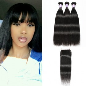 DSoar Hair 3pcs Peruvian Straight Virgin Hair Bundles With Lace Closure