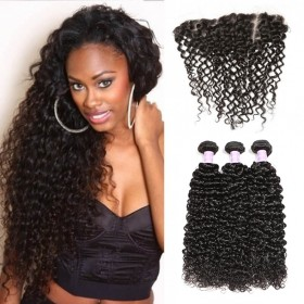 DSoar Hair 3pcs Jerry Curly Hair Weft With Lace Frontal Closure