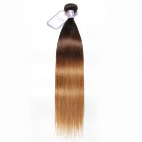 DSoar Hair Virgin Hair Ombre Hair Extensions 1 bundle 1B/4/27 Straight Human Hair Weave