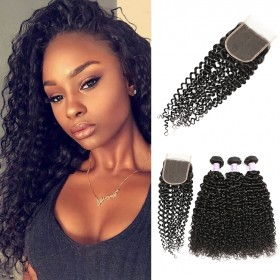 DSoar Hair 3 Bundles Brazilian Jerry Curly Hair Weave With Closure