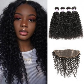 "DSoar Hair Brazilian 4 Bundles Curly Hair 8""-26"" Weave With 4""*13"" Closure"