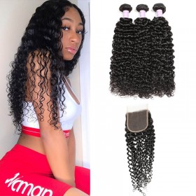 DSoar Hair 3pcs Malaysian Jerry Curly Hair Wefts With Closure