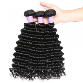 DSoar Hair 12-26IN 3 Bundles Human Virgin Hair Deep Wave Hair