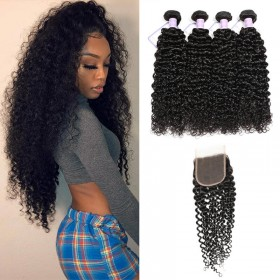 100% DSoar Hair Human Hair 4 Bundles Virgin Jerry Curly Hair With Lace Closure