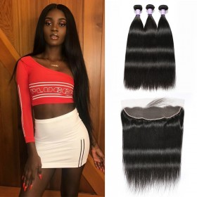 DSoar Hair 3 Bundles Straight Human Hair With Lace Frontal Closure 13x4 inch