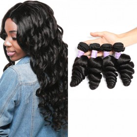 DSoar Hair Brazilian Loose Wave Virgin Human Hair Natural Black Color 4 Bundles
