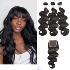 DSoar Hair Malaysian Body Wave Lace Closure With 3pcs Human Hair Weave