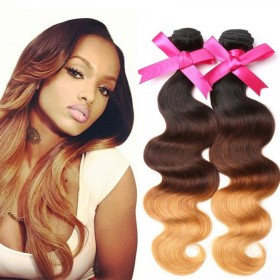 DSoar Hair 3 Bundles Ombre Body Wave Human Hair T1B/4/27