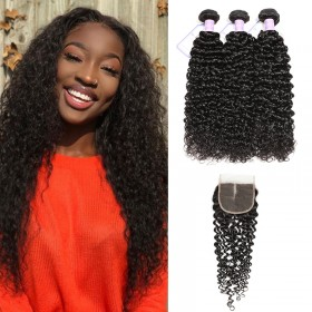 DSoar Hair 3 Bundles Virgin Jerry Curly Human Hair With Lace Closure