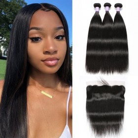 DSoar Natural Black Peruvian Soft Straight 3 Bundles  Hair Weave With 4X13 Closure