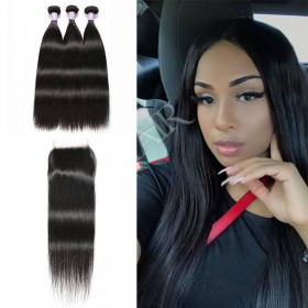 High Quality DSoar Hair Lace Closure With Straight Hair 3 Bundles
