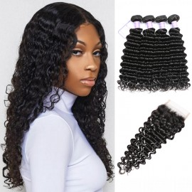 Peruvian hair 4bundles with closure