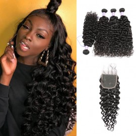 4 Natural Wave Hair Bundles with closure