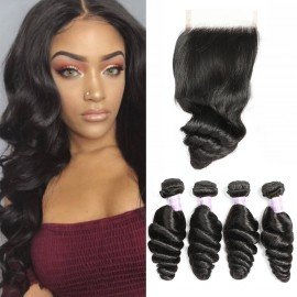 Peruvian Human Hair 4 Bundles With Lace Closure Dsoar Loose