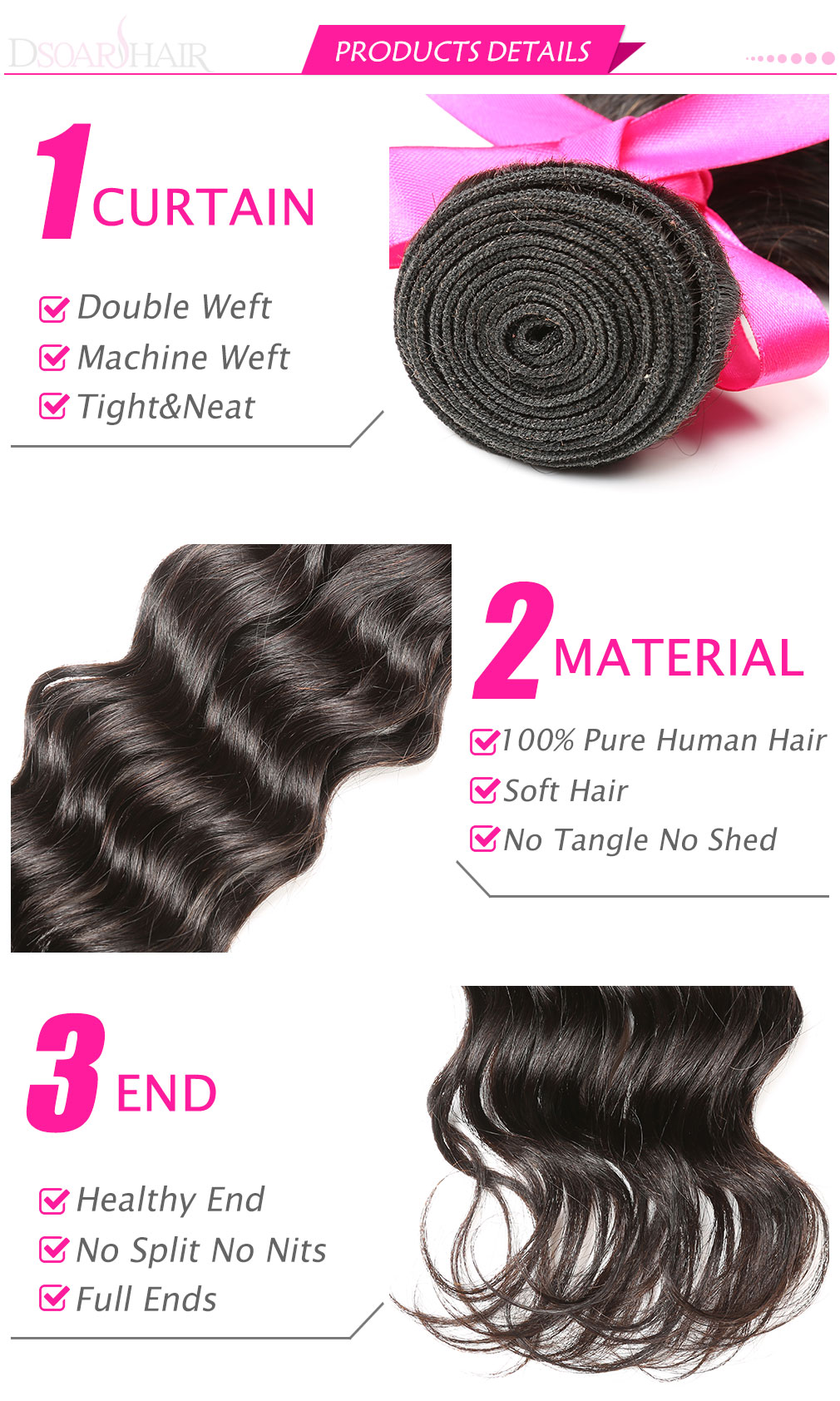 Malaysian Natural Wave Hair 4 Bundles