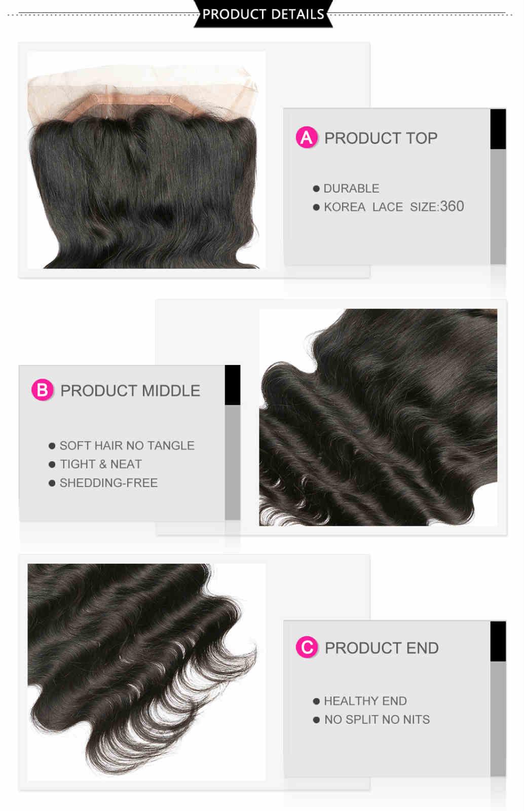 360 human hair lace frontal closure