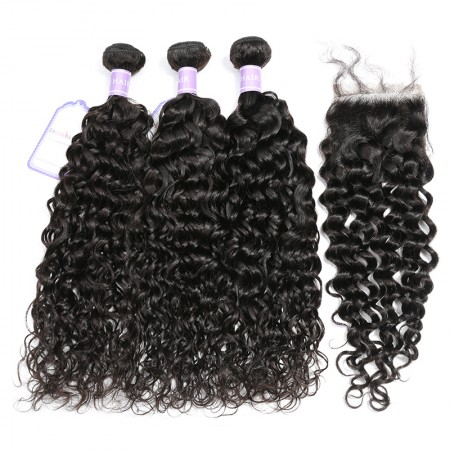 Natural Wave Weave With Lace Closure