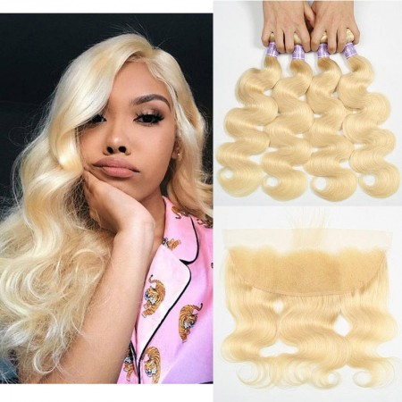 613 Hair Body Wave Blonde Brazilian Hair 4 Bundles With Frontal