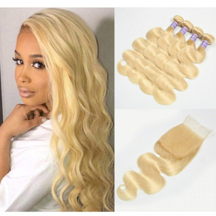 613 blonde colored bundles with closure