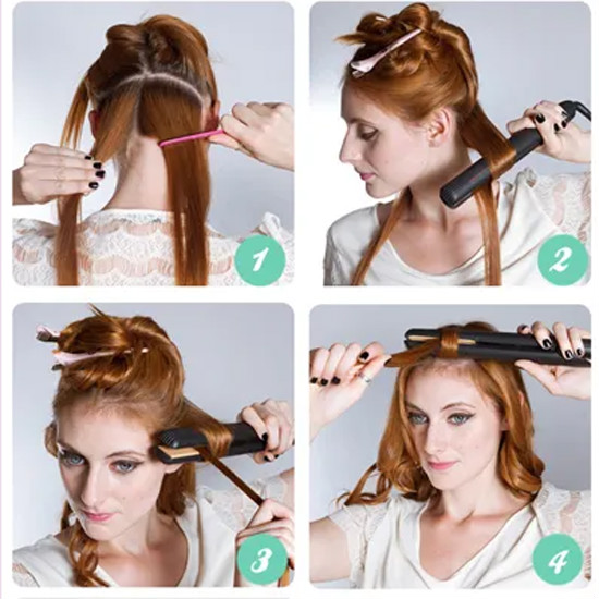 How to curl the body wave hair by aflat iron