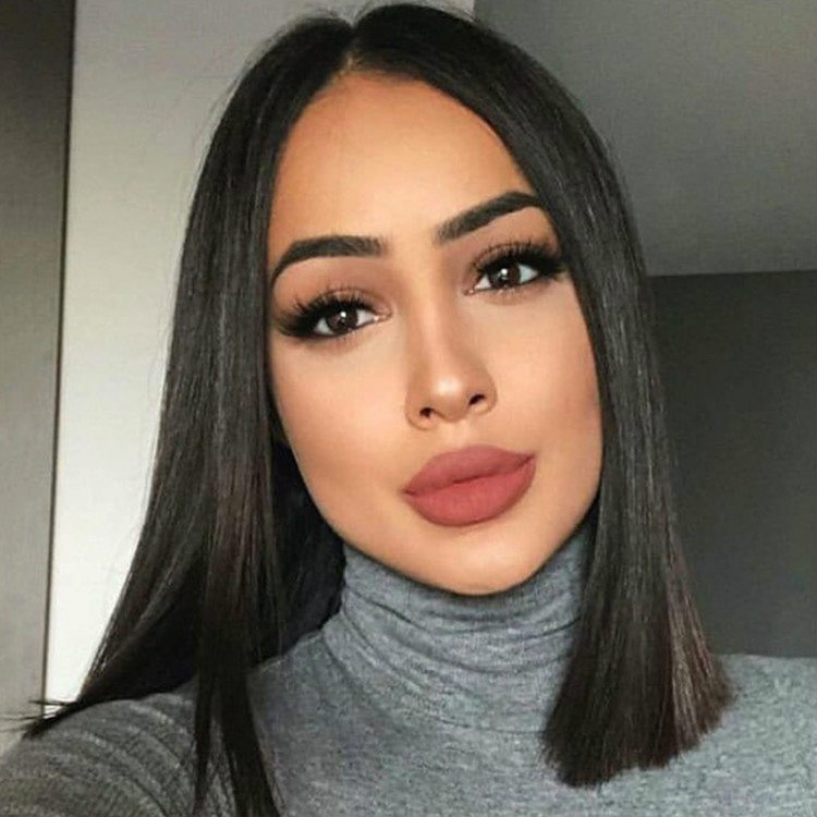 Straight Blunt Cut Lace Front Bob Human Hair Wigs For Women