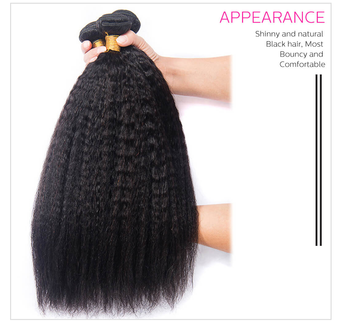 4Pcs/Pack Peruvian Kinky Straight Hair