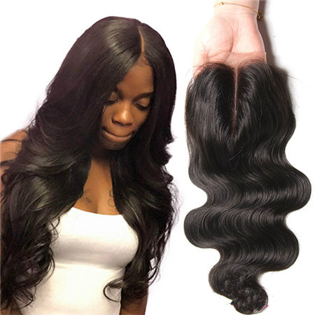 middle part human hair closure