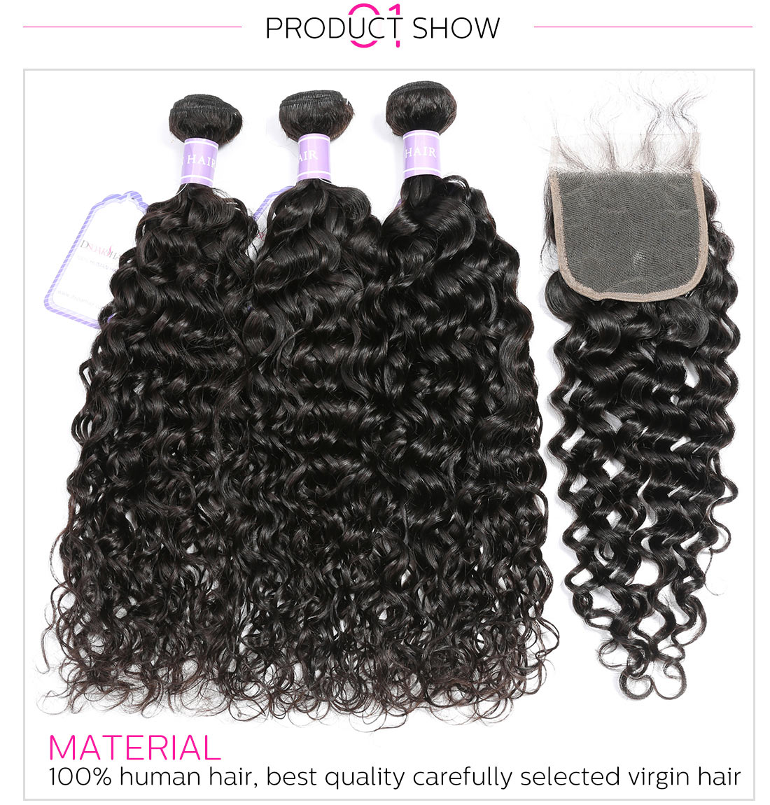 Malaysian Hair Natural Wave 3 Bundles With Closure