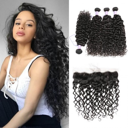 Virgin Peruvian Natural Wave Lace Frontal 13x4 With 4 Bundles