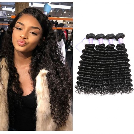 Peruvian Deep Wave 4 Bundles Virgin Human Hair