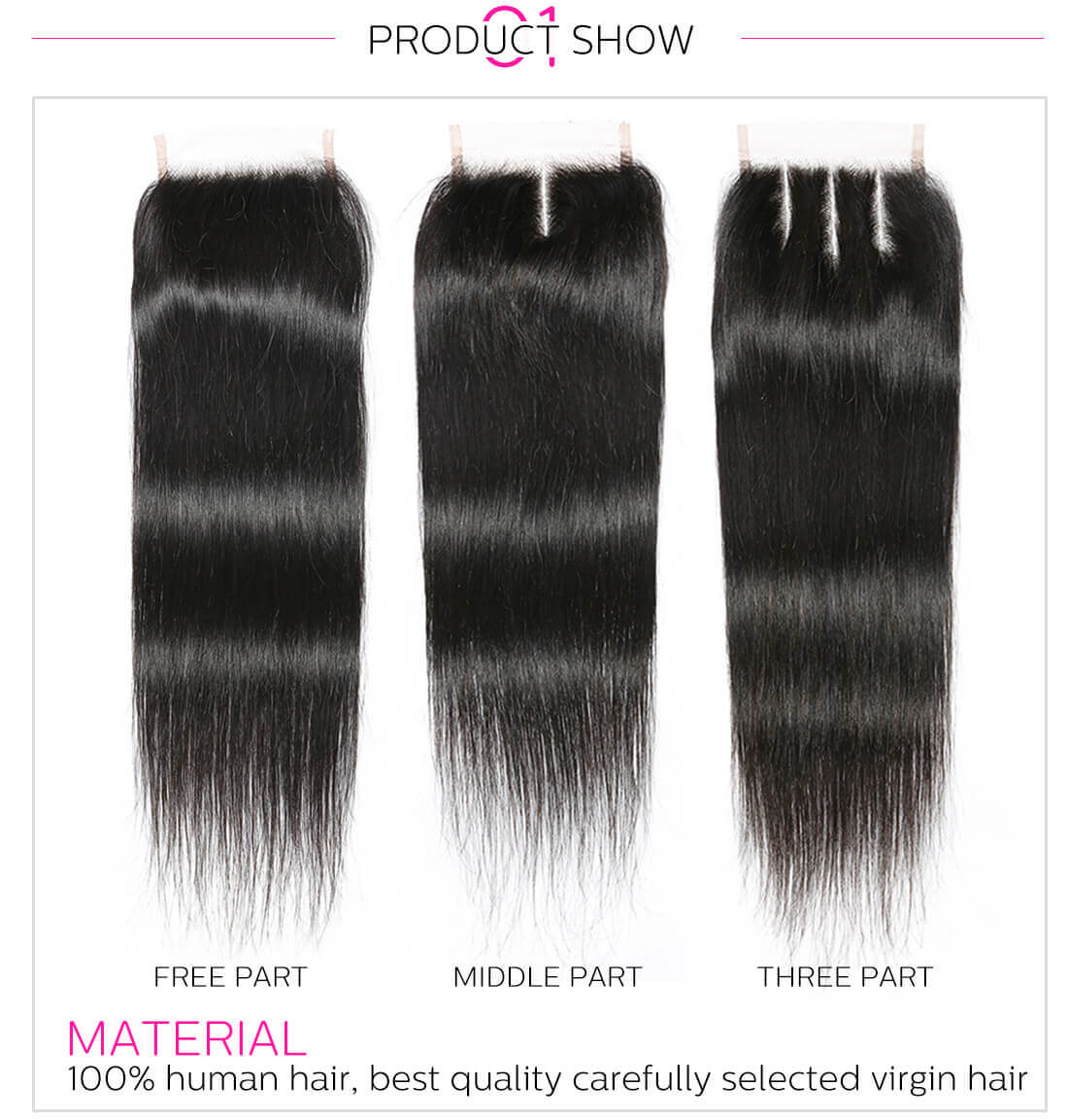 DSoar Hair Lace Closure With Straight Hair Bundles
