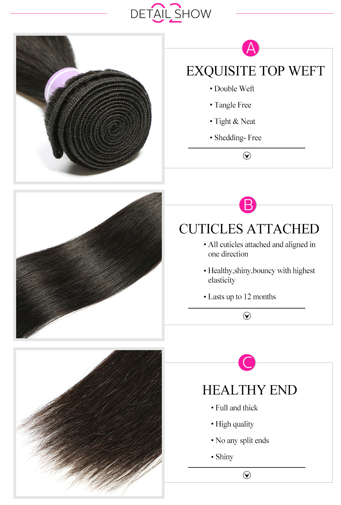 Unprocessed Straight Remy Hair Bundles