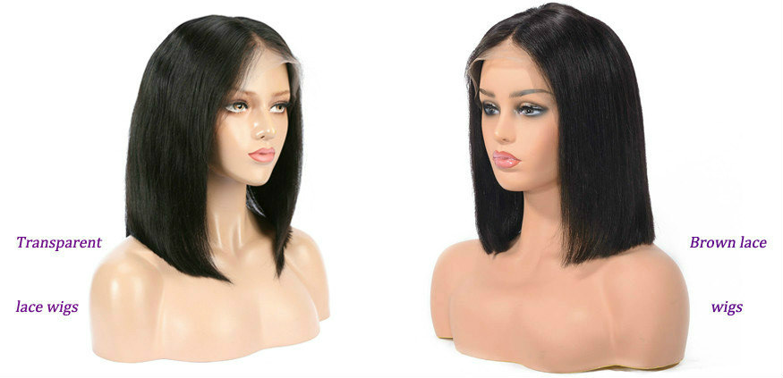transparent lace wig VS medium brown lace wig
